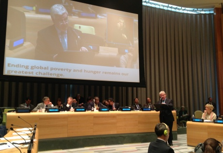 An Tanaiste Eamon Gilmore addresses 68th Unitied Nations General Assembly in New York. Photo: Irish Aid