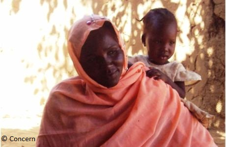 Mariam with her daughter, Ardamata IDP Camp, West Darfur, Sudan. Concern Worldwide Mother's Groups project. Photograph: Sinead McGrath-November, 2011