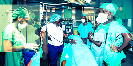 Dr Jane Fualal (centre) carries out surgery with her interns at Mulago Hospital, Kampala. She is the Uganda National Representative for the College of Surgeons in East, Central and Southern Africa. Photographer: Daudi Ssebaggala SDS Productions