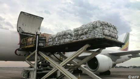 Irish Aid Emergency Supplies are loaded onto a cargo plane to be dispatched to assist refugees from the Central African Republic in Cameroon. Photo WFP