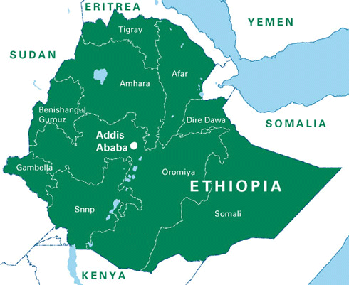 A large political map of Ethiopia