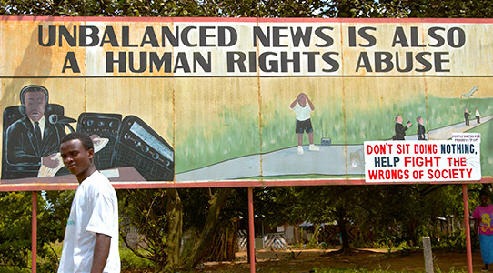 A billboard in Liberia advocating freedom for the press. Photo by Panos