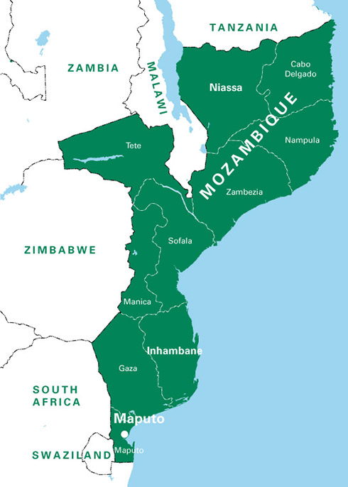 A large map of Mozambique