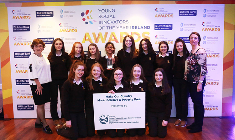 Winners of the Make Our Country More Inclusive and Poverty Free award, Loreto Secondary School, Letterkenny, Co. Donegal with YSI Guide, Siobhan McKeague and Kathleen Stack, Department for Employment Affairs and Social Protection